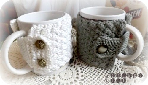 Cache-chauffe-manchon pour Mug Cosy ... // with more links for DIY