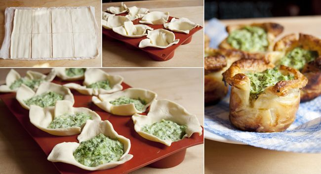 How to Make Puff Pastry Spinach Cups - Hmmmm, great way to use up some of our silverbeet in the garden