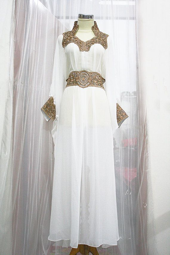 Moroccan white kaftan dress gold embroidery dubai Abaya Maxi caftan Jalabiya for women on Etsy, $65.00