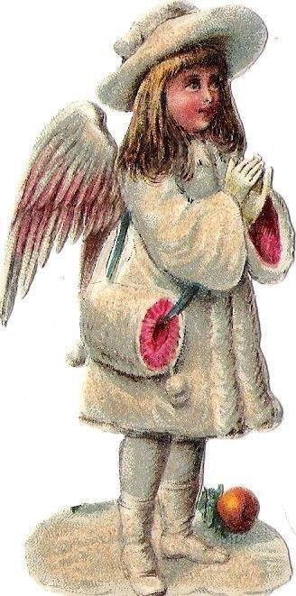 Oblaten Glanzbild scrap die cut chromo Winter Engel angel  XMAS Schnee snow MICA: