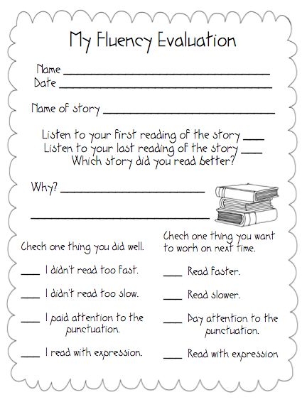 fluency evaluation... It's a self evaluation. While I am progress monitoring they can be recording their own reading!