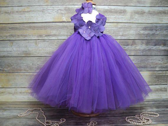 Purple tutu dress & hydrangea flower headband 9  24 mos 2T