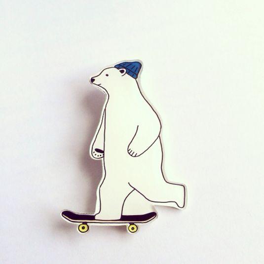 minne(ミンネ)| スケーターしろくまブローチ