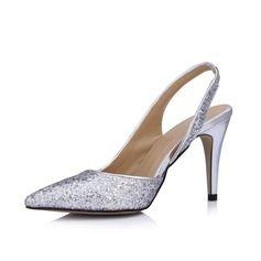 Wedding Shoes - $75.99 - Women's Leatherette Sparkling Glitter Cone Heel Closed Toe Pumps Slingbacks  http://www.dressfirst.com/Women-S-Leatherette-Sparkling-Glitter-Cone-Heel-Closed-Toe-Pumps-Slingbacks-047026435-g26435