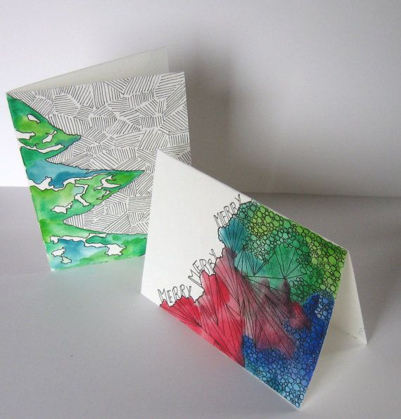 Drawing Red Lines With Green Ink : Christmas holiday greeting cards set of two original art