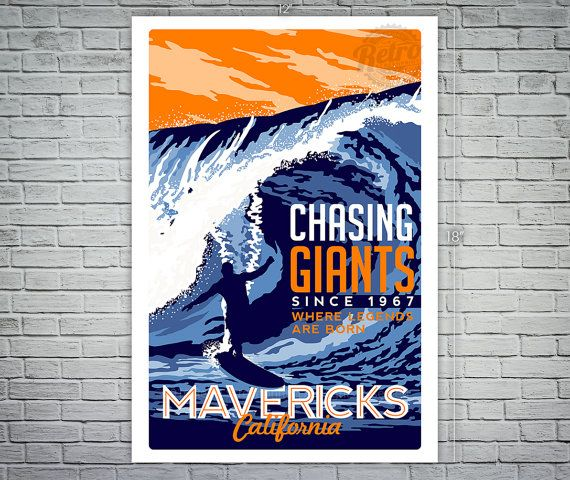 Surfing Travel poster Mavericks california vintage retro Screen Print poster