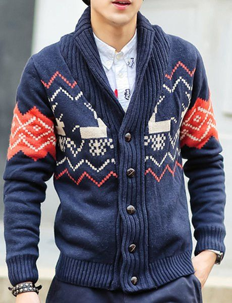 Slimming Trendy Turn-down Collar Ethnic Abstract Fawn Print Long Sleeves Cardigan For Men