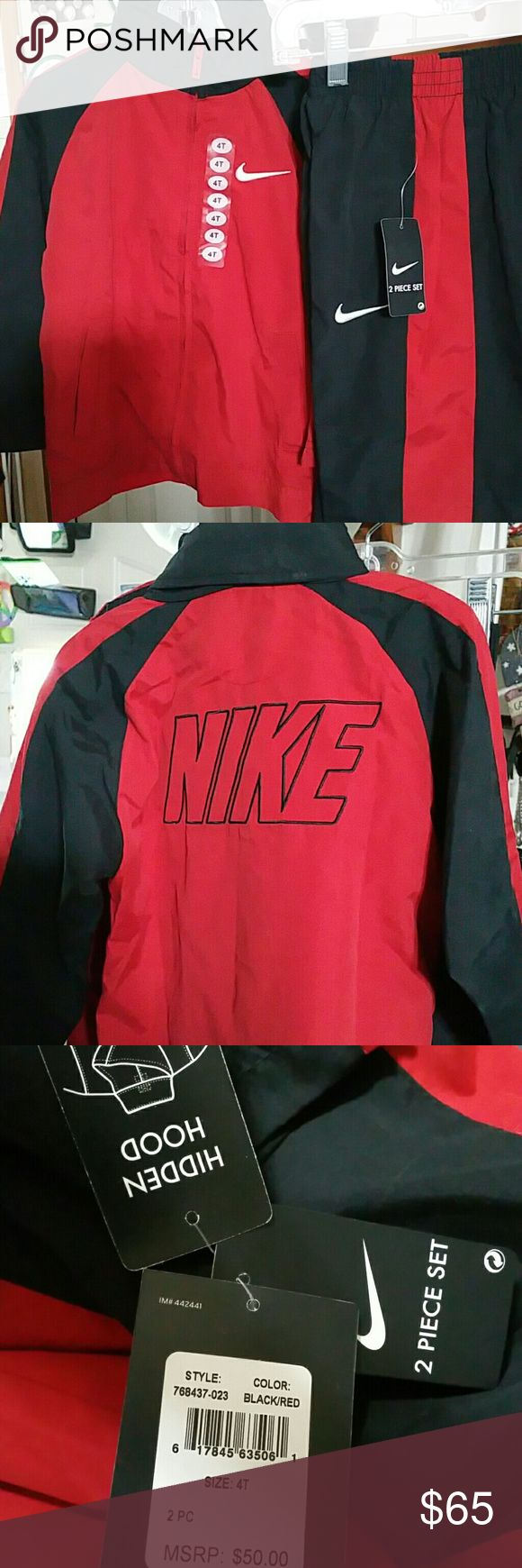 Nike Jogging Suit Black & Red Soft material with a hidden hood. I have 2 which would be perfect for twins!! Nike Matching Sets