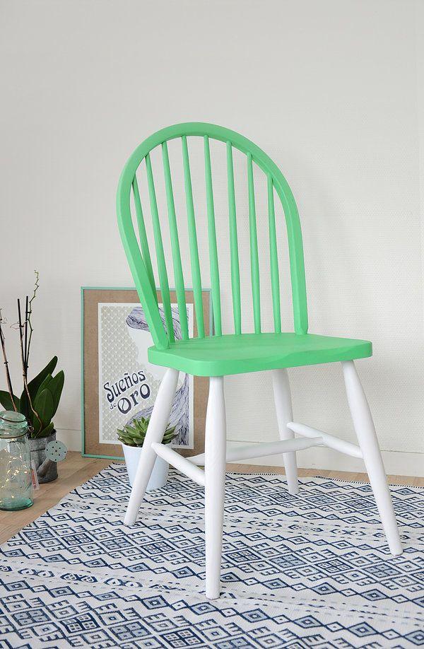 Chaise scandinave windsor vert fluo
