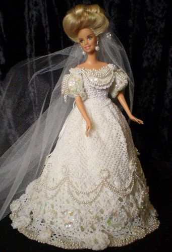 Crochet for Barbie Fashion | White crochet Bridal Barbie Doll With Pearls Cathedral veil ...