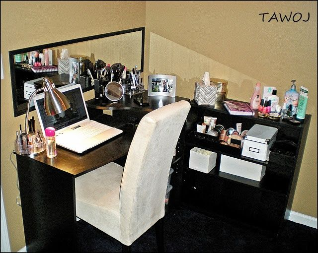 DIY MakeUp Table for under $100 Computer desk Walmart $50  Bookshelf Walmart $15  Door mirror Walmart $10  Gooseneck table lamp chrome $15  Black office drawer organizer $5