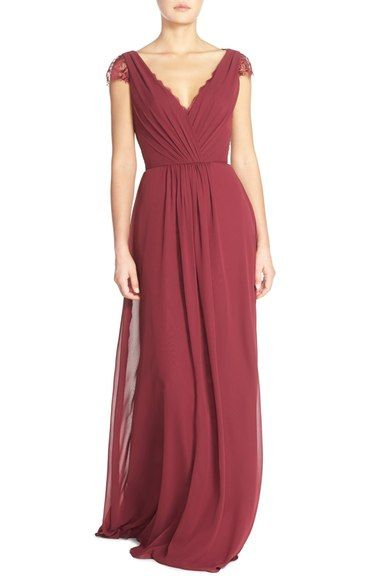 Free shipping and returns on Hayley Paige Occasions Lace & Chiffon Cap Sleeve Gown at Nordstrom.com. Sheer lace with delicate eyelash fringe peeks out at the décolleté neckline and shapes the sweet cap sleeves and upper back of an endlessly elegant chiffon gown. Soft gathers enhance the surplice bodice and release lush fullness into the trailing A-line skirt, while ties at the nape close the spine-baring keyhole.