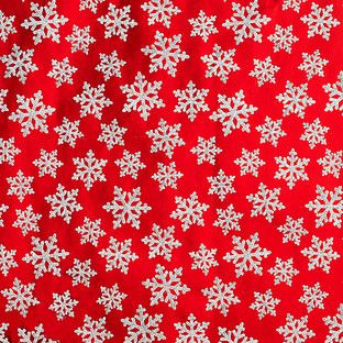 Glitter Snowflakes on Red Gift Wrap