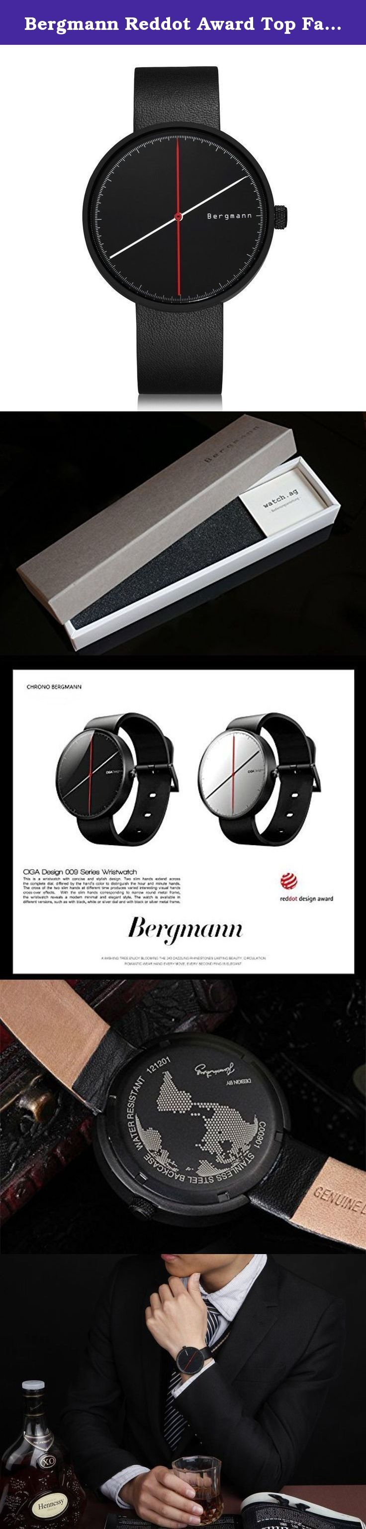 Bergmann Reddot Award Top Fashion Men' Watches Casual Designer Black Dial Watch Leather Quartz Cool Gift. Bergmann is one of the hot selling watch brands in Germany. Started from 1933 in Schramberg, Bergmann was first well known with its vintage miner series of mechanical watch. In 1990s, Bergmann worked with Jens Richter, a european Bauhaus style designer, to engaged in Bergmann watches production. As time passed, now Bergmann had developed a number of Bauhaus style watches collections...