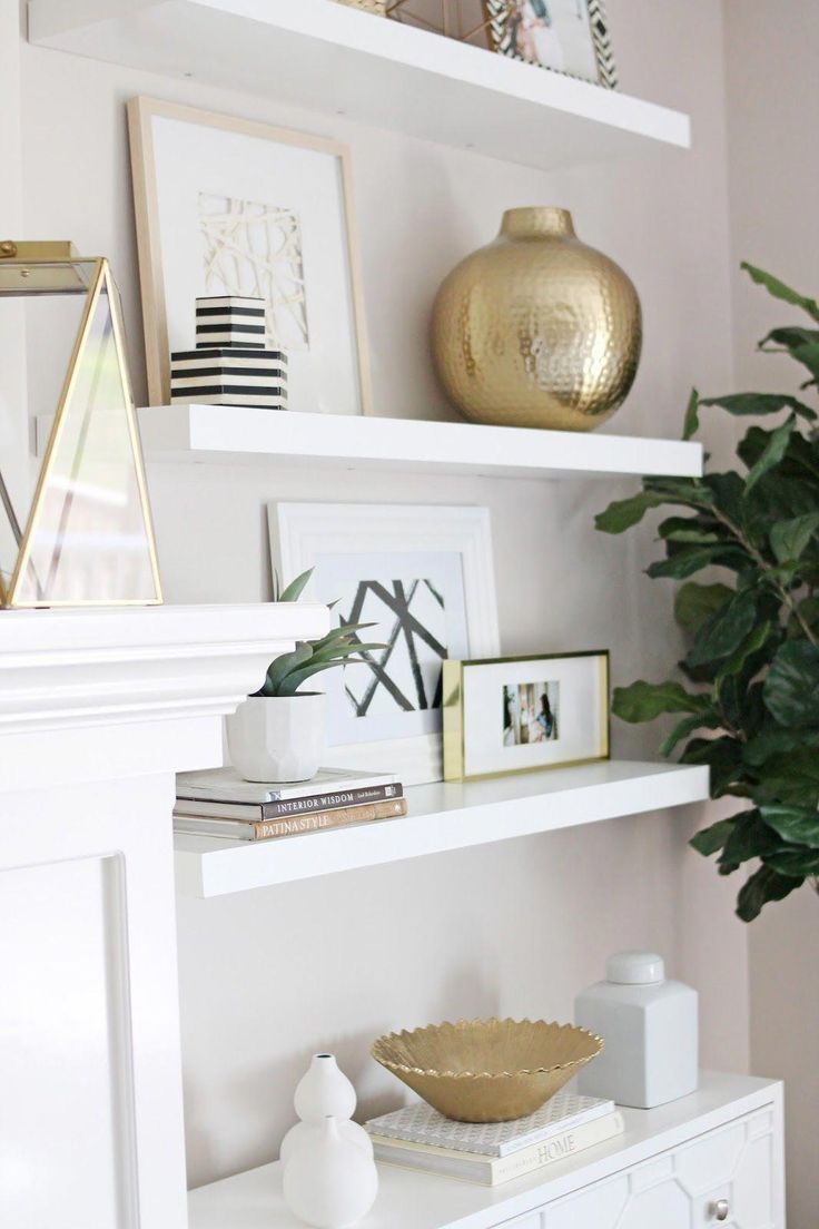 Modern Meets Traditional Living Room Tour With Lots Of White And Brass Accen Floating Shelves Living Room Living Room Shelves Traditional Living Room Furniture #white #living #room #shelves