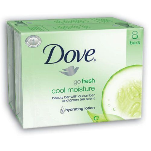 Dove Bar Soap, Cool Moisture, 4.25 Oz, 16 Count by Dove. $18.35. Dove bar soap contains 1/4 moisturizing lotion so it doesn't dry your skin like other soaps can. Ultra-light hydrating formula. An uplifting scent of cucumber and green tea for a bar that leaves you with the clean, cool feeling of hydrated skin. Made in the USA. Amazon.com                        Dove go fresh Cool Moisture Beauty Bar Dove go fresh Cool Moisture Beauty Bar contains an ultra-light hydrating formula a...
