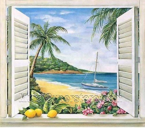 Mural Portfolio II Trompe L'Oiel Tropical Paradise Window Accent Wall – Delivered Decor