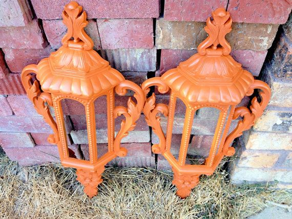 Orange Wall Sconces, Faux Lantern Sconces, Burnt Orange Home Decor, A…
