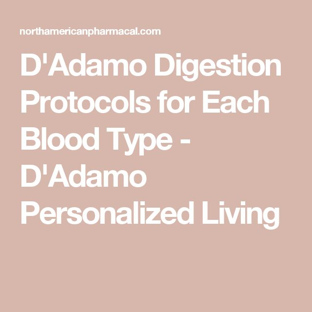 D'Adamo Digestion Protocols for Each Blood Type - D'Adamo Personalized Living
