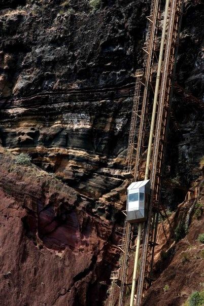 "Scary elevator to ""Fajã do Padres"". Madeira island."