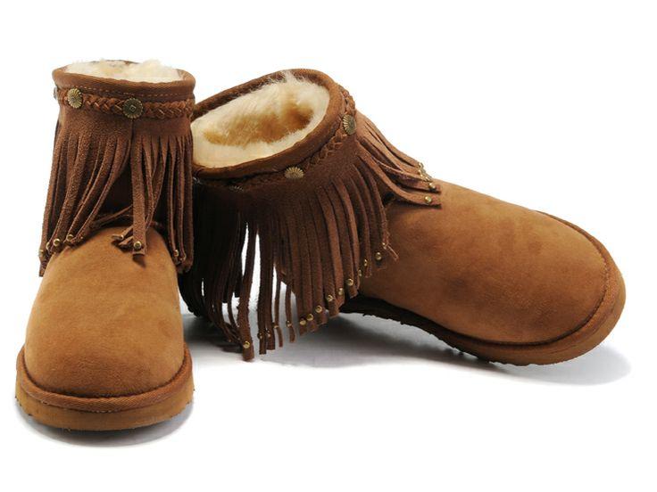 UGG Boots 6805 Studded Tassel Chestnut AAA