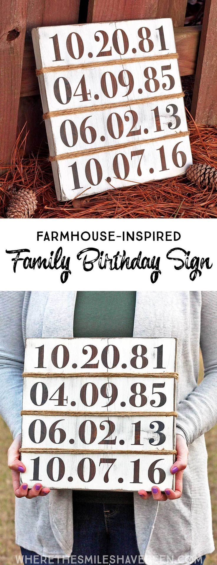 This is such a CUTE idea!  Display all of your family's birthdays with a personalized sign!  Rustic Farmhouse-Inspired Family Birthday Sign | Where The Smiles Have Been