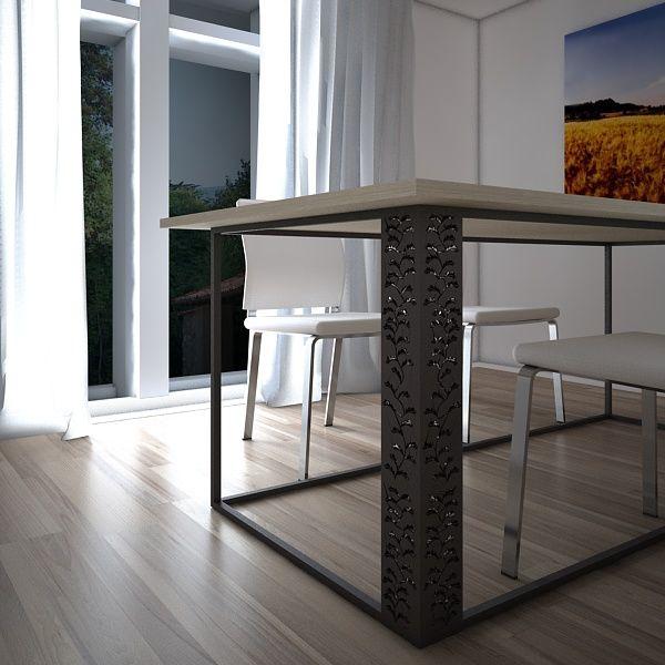 Barocco - AS T09/13  Barocco è un tavolo dalle forme semplici e minimaliste, di particolare effetto risulta essere la gamba intarsiata che conferisce all' insieme una vivace classicità. Barocco rappresenta un'evoluzione nel modo di concepire il tavolo, diventando un complemento d'arredo versatile e mutevole capace d' integrarsi con l 'ambiente circostante.Struttura in tubolare metallico verniciato a polvere con lavorazione a taglio laser, piano in legno tipo medium density confinitura ...