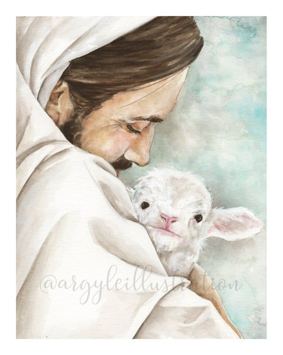 Watercolor Print of Christ with a Lamb in 2021   Jesus christ art, Jesus christ painting, Jesus painting