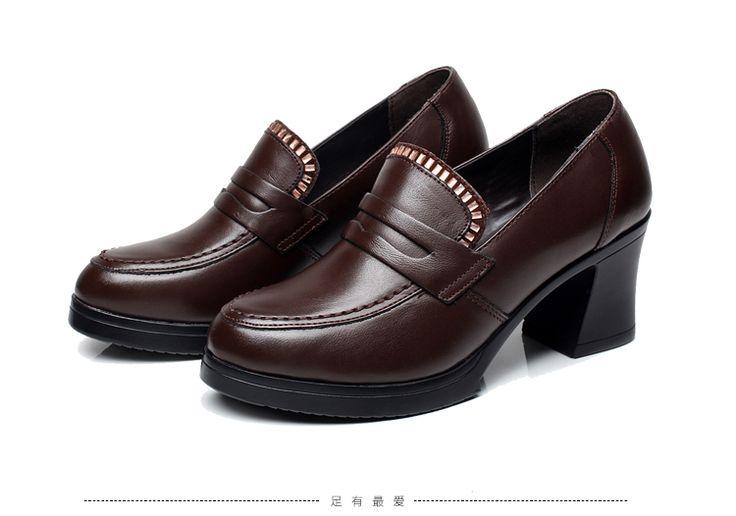 Весна, кожа работа обувь карьера матери средних лет с грубой с глубокой мордой нога рабочая обувь черные туфли - Taobao