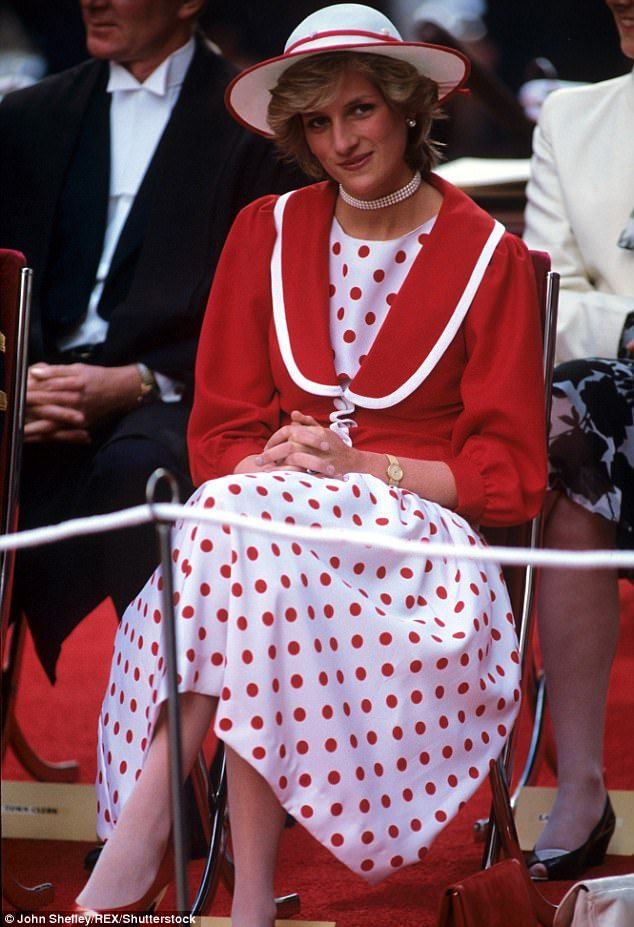 Lady in red! Princess Diana sporting scarlet polka dots on the royal tour of Australia in 1983