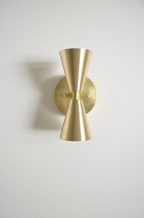 Ready to ship Madonna- Solid Brass Cone light.  Modern mid century wall light lamp with brass cone shades - glass globe bulb UL LISTED