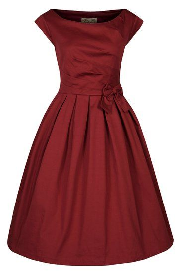 Lindy Bop 'Lucille' Classy 1950's Vintage Style Pleated Rockabilly Party Dress (XS, Rust)