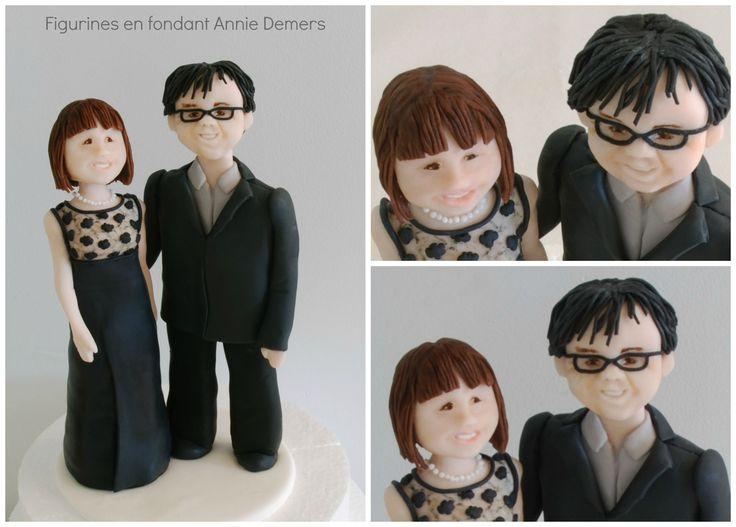 weeding cake topper Figurine de marié en noir https://www.facebook.com/figurinesanniedemers