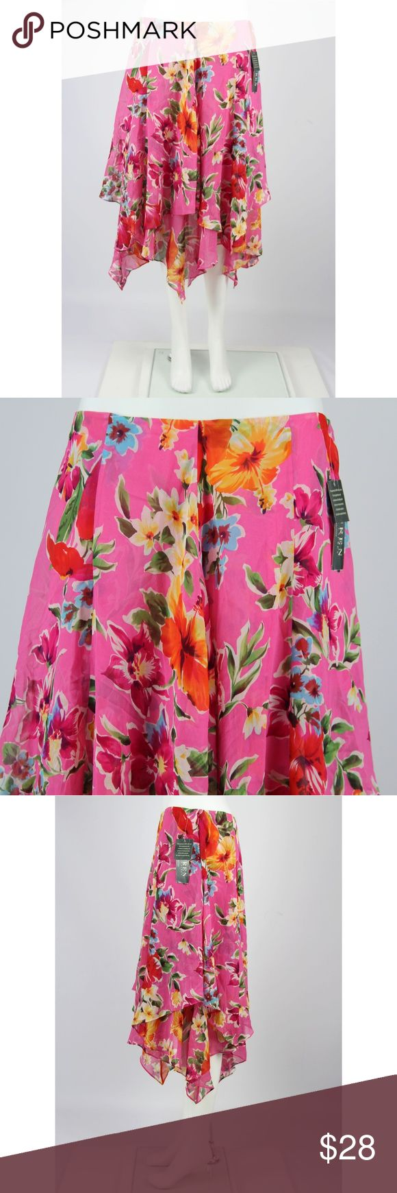 """Lauren Ralph Lauren NWT Pink Floral Silk Skirt NWT Lauren Ralph Lauren 100% Silk Floral Handkerchief Skirt  Size: 12   100% Silk Lining:  100% Polyester Made in China  Color: Pink floral print  Brand new with tags.  Measurements: Waist - 16"""" Hips - 27.5"""" Length (rear - top middle to hem) - 31.5"""" (longest point)  Inventory E9 Lauren Ralph Lauren Skirts Asymmetrical"""