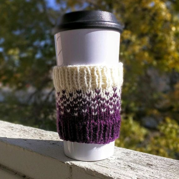 Hey, I found this really awesome Etsy listing at https://www.etsy.com/listing/252496110/knit-coffee-cozy-sleeve-in-violet-and