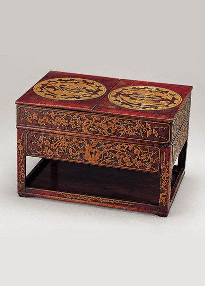 Joseon Dynasty, 19th Centur. Inkstone Table. Wood, red lacquer, and brass. #DecorativeKoreanArt