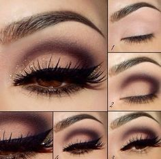 Gorgeous look for brown eyes (or any!): burgundy, light pink, gold shimmer, black winged eyeliner + gold liner.