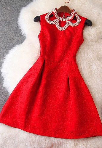 Red Dress with Pearl Neckline Detail