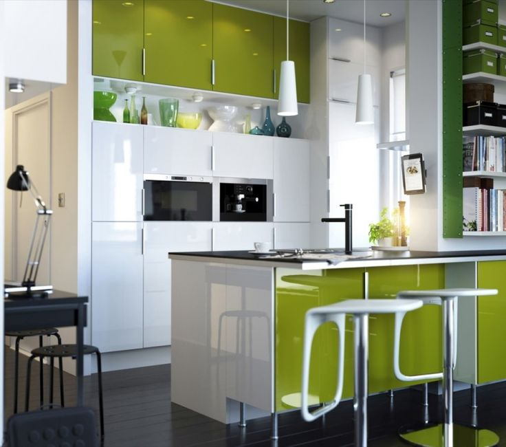 Top 15 Modern IKEA Kitchen Design Inspirations : Enticing White And Lime  Green IKEA Kitchen Design With Lime Green Kitchen Cabinets And White Two  Pendant ...