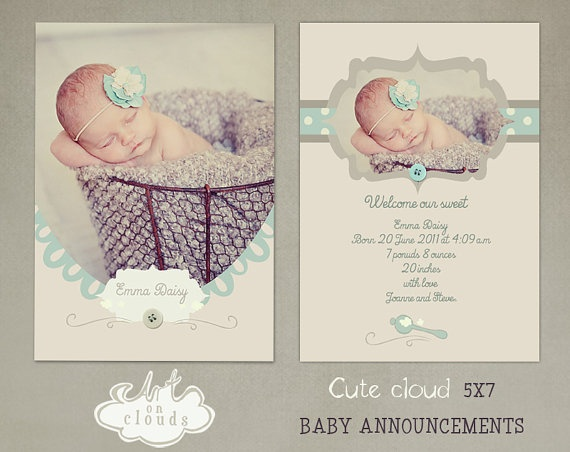 Cute clouds 5x7 baby announcement C003 by ArtonClouds on Etsy, $8.00