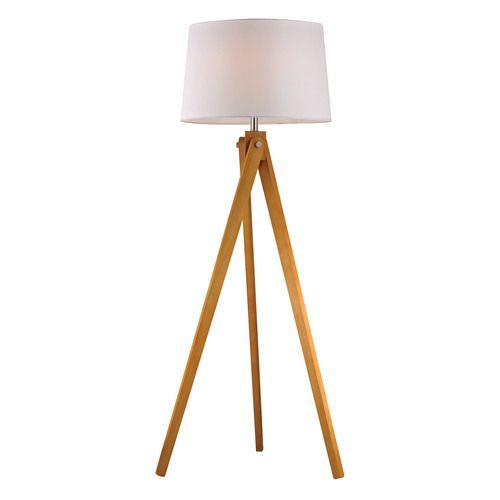 Wooden Tripod Floor Lamp in Natural Wood Tone - D2469