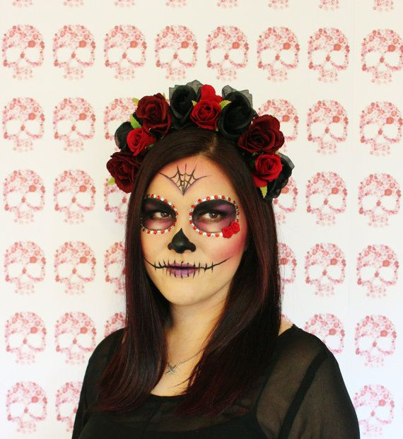 Red Black Rose Flower Crown  floral headband by MissWildFlowers