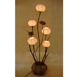 Paper Floor Lamp Shades with Five Flower Bud Lantern Lights