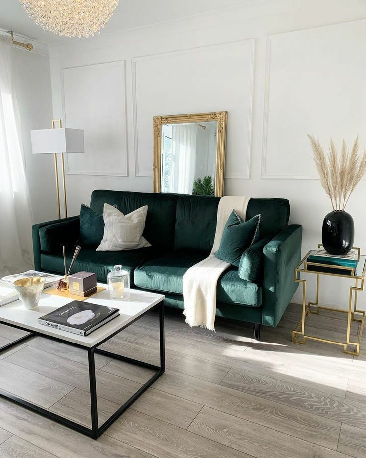 Cozy Living Room Ideas For Small Spaces In 2021 Green Sofa Living Room Green Couch Living Room Velvet Sofa Living Room