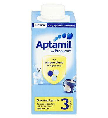 #Aptamil Growing Up Milk 3 1-2 years 200ml 10168445 #0 Advantage card points. Aptamil Growing Up Milk 3 1-2 years 200ml contains a unique blend of ingredients and is tailored to a toddlers nutritional needs. FREE Delivery on orders over 45 GBP. (Barcode EAN=5051594002975)