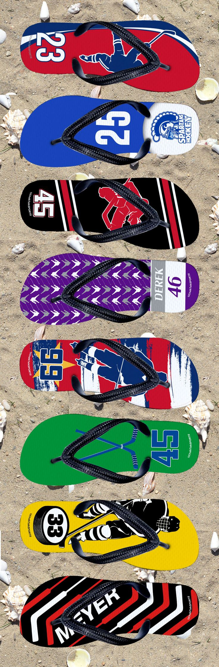 Our newest Hockey Flip Flop styles! They are completely customizable with many colors, designs, and personalization options. Makes a great hockey gift!