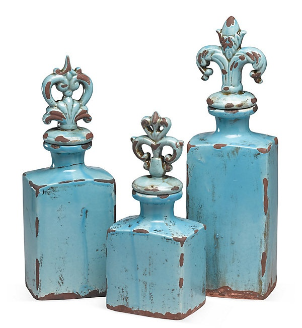 One Kings Lane - A View of Versailles - S/3 Finial Jars, Blue