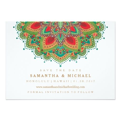 Indian Wedding Invitations The Green Mandala Wedding Save the Date Card