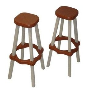 Leisure Accents Barstool Set (2/Carton), Redwood/Beige, 26 Inches Tall