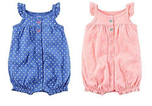 Carter's Baby Girls' 2-Pack Snap up Romper (9 Months, Pink Polka Dot/Blue Polka Dot)